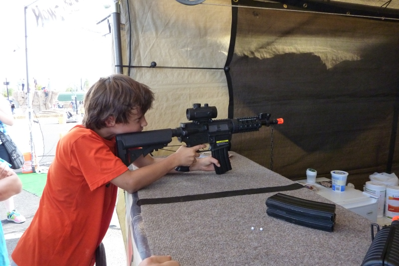 "The ""Extreme"" area included some less common booths like this pellet gun target shoot that allowed the kids to try out some of the higher end automatic rifles on the market, cost was not exorbitant."