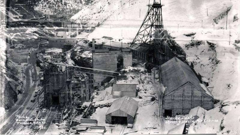 Hecla mines rebuilding with brick.