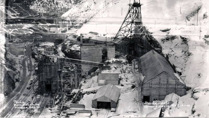 Hecla mines rebuilding with brick.