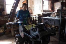 Mike shows me how this linotype press works - he used one during his first job in Haines Alaska after high school.